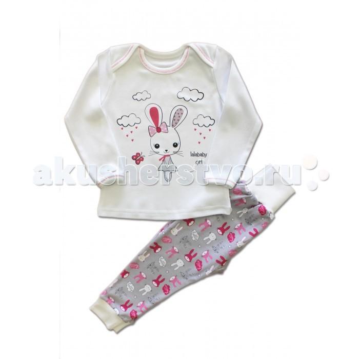 Пижамы и ночные сорочки LalaBaby Пижама для девочки длинный рукав (лонгслив и штанишки) Зайка 811-085