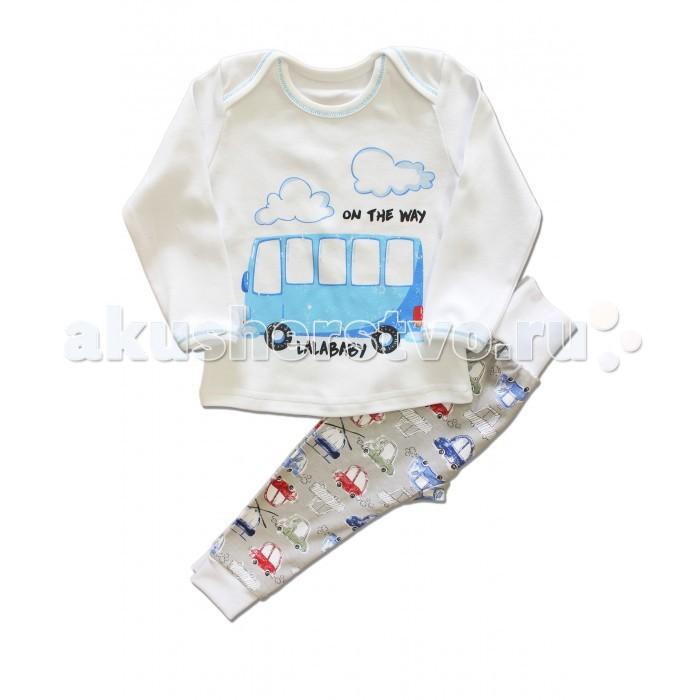 Пижамы и ночные сорочки LalaBaby Пижама для мальчика длинный рукав (лонгслив и штанишки) My little car