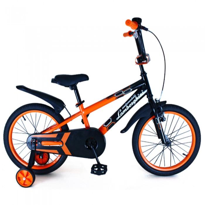 Велосипед двухколесный Lamborghini 14Двухколесные велосипеды<br>Велосипед Lamborghini 14 подойдет тем детям, которые только начинают свое знакомство с двухколёсными велосипедами, эта модель станет оптимальным выбором.   Стильный, яркий, привлекающий внимание, велосипед можно использовать совместно с дополнительными страховочными колесами для устойчивости при обучении, а когда ребенок будет готов к самостоятельной езде, с легкостью их убрать.   Особенности:  Стальная высокопрочная рама  Регулируемые по высоте сиденье и руль  Защитная мягкая накладка на руле  Не скользящие прорезиненные ручки  Зеркальце, светоотражатели, звонок и брендированная бутылочка в комплекте  Пластиковые крылья  Односоставный шатун  Передний ручной и задний ножной (барабанный) тормоза  Насыпные подшипники  Страховочные колеса