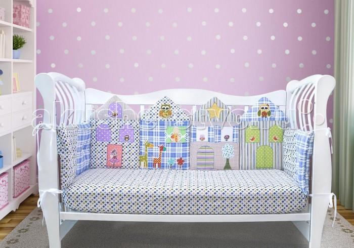 Комплект в кроватку Лапуляндия для мальчика 120х60 (8 предметов)для мальчика 120х60 (8 предметов)Комплект в кроватку Лапуляндия для мальчика 120х60 (8 предметов) создаст уют, чудесную атмосферу и обеспечит безопасность во время сна. Комплект удобен как для прямоугольной кроватки, так и для овальной.  В комплекте: бортики одеяло пододеяльник наволочка простынка на резинке Особенности: один большой борт, состоящий из 4-х домиков  два коротких бортика с двойными подушками с пуговицами один большой борт, состоящий из 4-х подушек с пуговицами Уход: машинная стирка на деликатном режиме при 30°С чехлы домиков снимаются, остальные бортики стираются целиком Размеры: бортик: высота 30 см, толщина 3 см, длина 120 см (1 шт.) и 60 см (2 шт.) бортик из домиков: высота 45 см, толщина 3 см, длина 120 см<br>