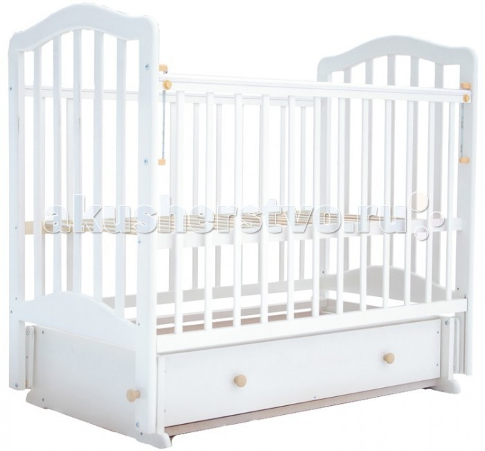 Детская кроватка Лаура 5 с ящиком маятник поперечный
