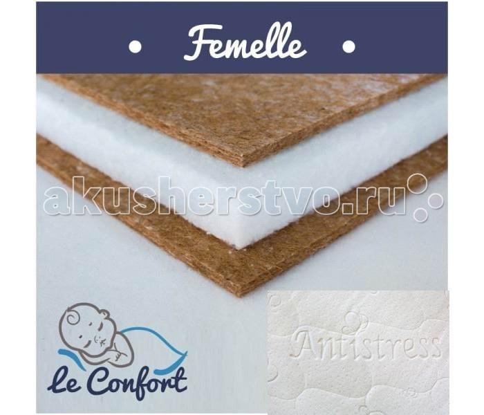 """Матрас Le Confort Femelle 120х60х14Femelle 120х60х14Детский матрас Le Confort Femelle многофункциональный ортопедический, в состав которого входит:  С двух сторон Bi-cocos 2 см – новейший материал, сочетающий в себе свойства искусственных и натуральных материалов. Поддерживает идеальный влаго - и воздухообмен во внутренних слоях матраса. Не вызывает аллергических реакций, не имеет запаха.  Холлкон 10 см  – это материал, полученный из синтетического полиэфирного волокна. Экологически чистый, нетоксичный, гипоаллергенный. Имеет высокую износоустойчивость.  Съемный чехол - ткань «антистресс»  Гигиеничный Воздухопроницаемый Непривлекателен для """"пылевого клеща""""  Размер: 120 x 60 x 14 см<br>"""