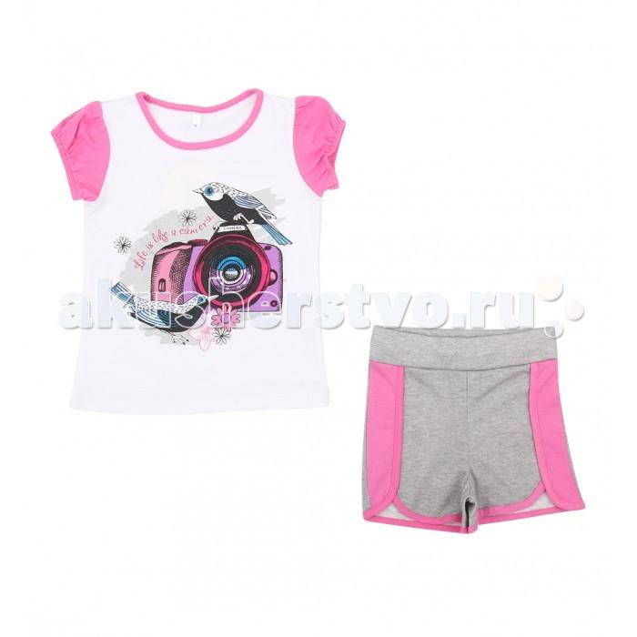 Комплекты детской одежды Leader Kids Комплект для девочки Бантики (футболка, шорты) ЛКЛ8211369 комплект для девочки 5161oz0a10p01 синий beba kids