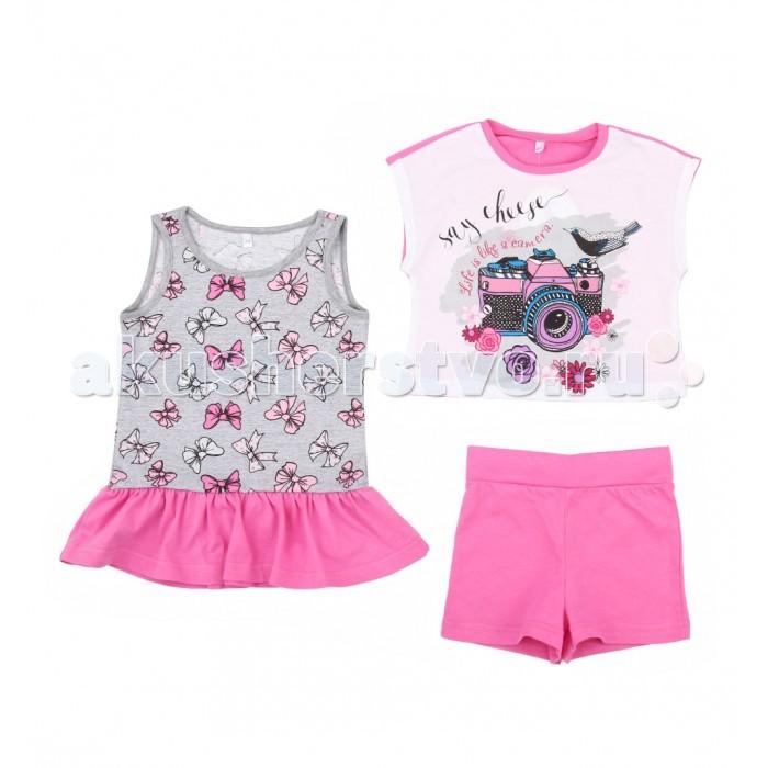Комплекты детской одежды Leader Kids Комплект для девочки Бантики (майка, футболка, шорты) комплект для девочки 5161oz0a10p01 синий beba kids