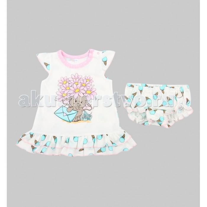 Комплекты детской одежды Leader Kids Комплект для девочки Розовый слон (платье, трусики) abby kids топ для девочки 508 розовый abby kids
