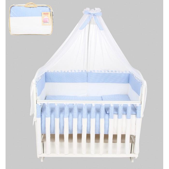 Комплект в кроватку Leader Kids Клетка (7 предметов)Клетка (7 предметов)Комплект в кроватку 7-ми предм. Клетка  Качественное правильно подобранное постельное белье - это залог крепкого сна ребенка и его хорошего самочувствия. Но постельное белье может при этом быть еще и красивым!  Этот набор выполнен из высококачественного гипоаллергенного материала - хлопка. Он приятен на ощупь, позволяет коже дышать, безопасен для детей.   В этот комплект входят семь предметов для удобного сна и декорирования кроватки (бампер, одеяло, подушка, балдахин, наволочка, пододеяльник, простыня на резинке).   Размер их - стандартный, всё удобно заправляется. Изделие имеет приятную расцветку, декорировано симпатичным принтом. Подойдет к интерьеру различной расцветки.  Характеристики: материал: хлопок 100%; комплектация: 7 предметов; бампер: 360x40 см; одеяло: 90х120 см; подушка: 40х60 см; балдахин: 420х165 см - вуаль; наволочка: 40x60 см; пододеяльник: 90x120 см; простыня на резинке: 90x150 см;<br>