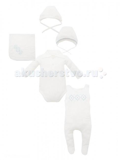 Комплект на выписку Лео (5 предметов) 1619(5 предметов) 1619Комплект Лео (5 предметов) - мягкий и износостойкий, имеющий все необходимые свойства для комфорта малыша.   Комплект из бамбукового волокна может впитывать на 60% больше влаги по сравнению с хлопком. К тому же бамбуковое волокно имеет поры, за счет чего ткань имеет хорошие вентиляционные свойства.   Также стоит отметить гипоаллергенные свойства бамбуковой ткани и ее отличную терморегуляцию.  В комплект входит: комбинезон боди шапочка чепчик плед 86х86 см  Размер: 56-62<br>