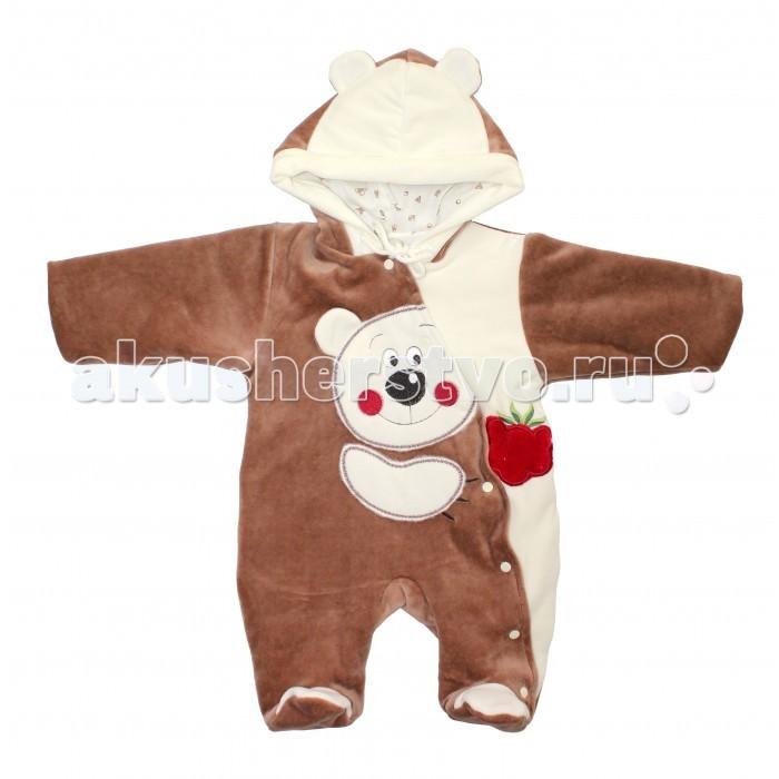 Демисезонные комбинезоны и комплекты Лео Комбинезон Мишка с малиной велюровый в1163 велюровый костюм
