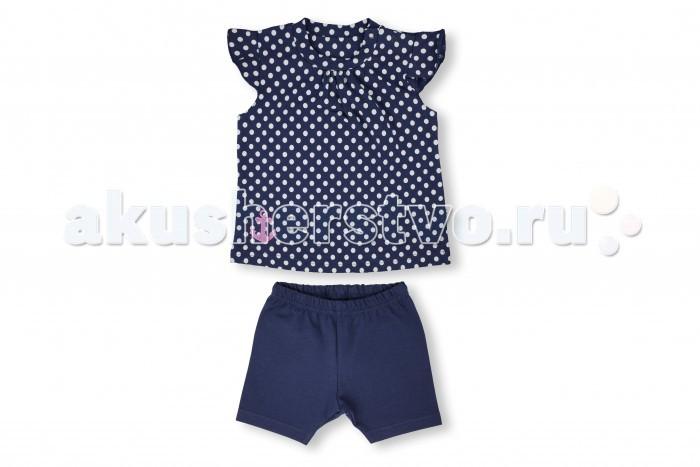 Комплекты детской одежды Лео Комплект для девочки (футболка, лосины) Юнга горох крестильный комплект для малышей лео