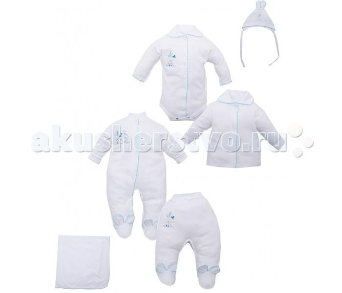 Комплект на выписку Лео Комплект для новорожденного Зайка (6 предметов)Комплект для новорожденного Зайка (6 предметов)Комплект хлопковый для новорожденного Зайка  В комплект входит: кофточка боди ползунки полукомбинезон чепчик с ушками одеяло 83х85 см  Состав: 100% хлопок  Размер 56, 62<br>