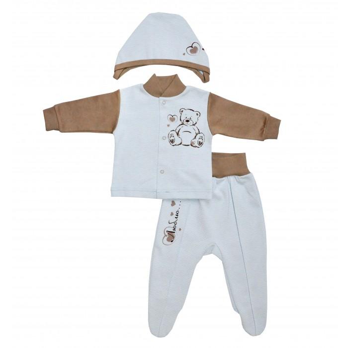 Комплекты детской одежды Лео Комплект Люблю из кофточки, ползунков и шапочки 1564-2 комплекты детской одежды клякса комплект для девочки из кофточки и ползунков