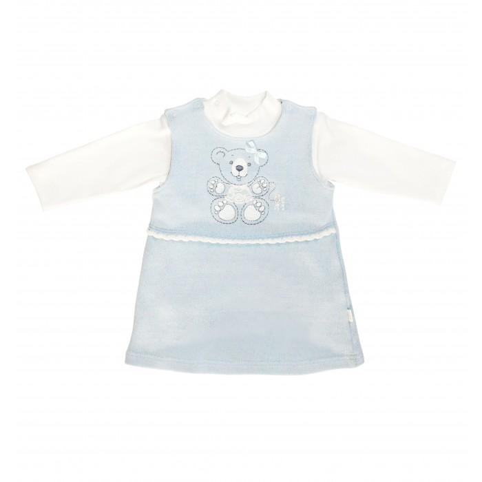 Комплекты детской одежды Лео Сарафан вязаный х/б и водолазка из кашкорсе 1628 лео плед вязаный лео с рисунком 90 100 30% шерсть 70% акрил синий зайчонок
