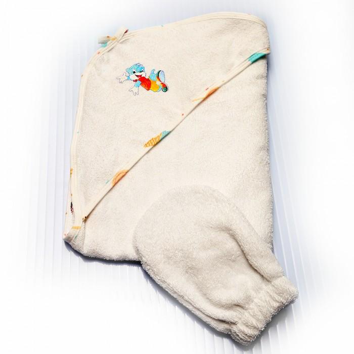 Полотенца Лес Текстиль Полотенце уголок с цветной окантовкой и варежкой 75х75 см