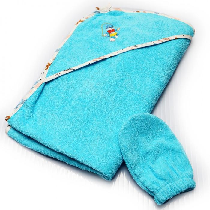 Полотенца Лес Текстиль Полотенце уголок с цветной окантовкой и варежкой 90х90 см