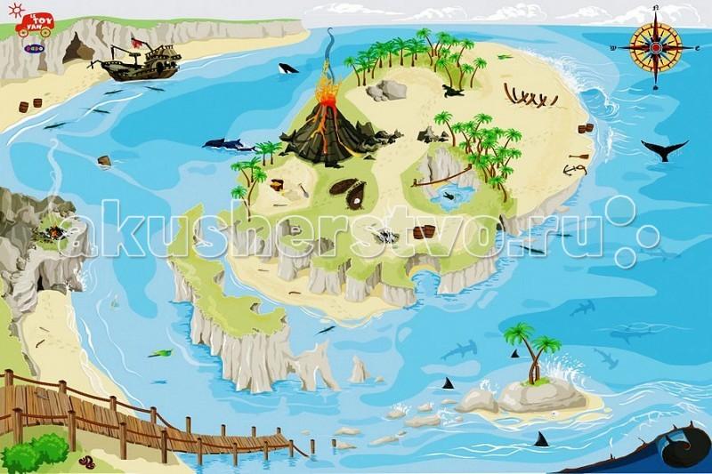 Игровой коврик LeToyVan ПиратПиратLeToyVan Игровой коврик Пират.  Что может быть интересней для мальчишки, чем почувствовать себя отважным пиратом, бороздящим бурные морские просторы! Тематическая сюжетная игра – коврик Пират 120х80 см, от британской компании Le Toy Van, даст ребенку возможность окунуться в волшебный и увлекательный мир приключений, тем самым пробуждая у него творческое мышление, воображение и фантазию.  Этот развивающий игровой коврик для детей имеет очень яркий, четкий и красочный рисунок, где посреди синего моря изображен и тропический остров с пальмами и потайными гротами, и старый полуразрушенный мост – дорога, по которой с крутого берега можно спуститься к воде, и пиратский корабль, пришвартованный у скалистого берега.Тропический остров, изображенный на нем, станет пристанищем для пиратов из игрушечной коллекции, которую Вы также сможете заказать на нашем сайте по очень приемлемой цене.  Основные характеристики: размер коврика  изготовлен из полиэстра высокого качества благодаря прорезиненной противоскользящей основе подходит для любых напольных покрытий превосходное качество нанесения рисунка, отличная детализация и четкость картинки уникальный дизайн удобен для хранения сворачивается рулоном.  Игровой коврик Пират: матерчатый, основа против скольжения четкий, яркий и красочный рисунок - не блекнет и не стирается высокая детализация картинки вдохновляющий и образовательный уникальный дизайн для игр, игрушек и детской комнаты удобно хранить изготовлен из безопасных для детей материалов по самым высоким европейским стандартам рекомендована сухая, бережная чистка в домашних условиях.<br>