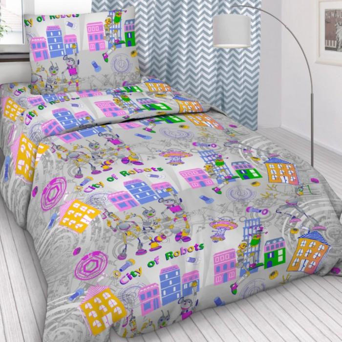 Постельное белье 1.5-спальное Letto 1.5-спальное Робогород (3 предмета) комплект белья василиса бамбук 2 х спальное цвет молочный наволочки 50x70 70x70 3 112