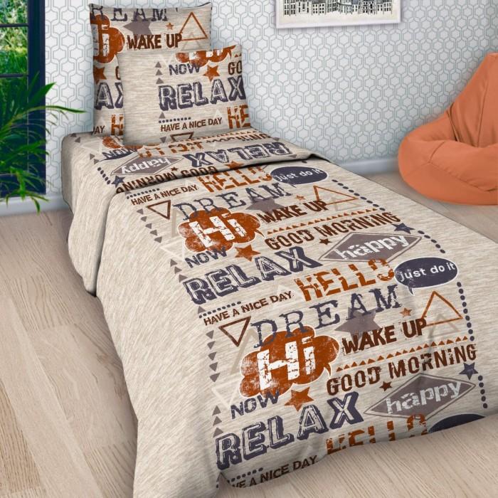 Купить Постельное белье 1.5-спальное, Постельное белье Letto 1.5-спальное Шрифт (3 предмета)