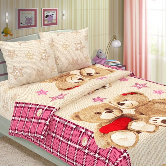 Постельное белье 1.5-спальное Letto 1.5-спальное Влюбленные мишки (3 предмета) комплект белья василиса бамбук 2 х спальное цвет молочный наволочки 50x70 70x70 3 112