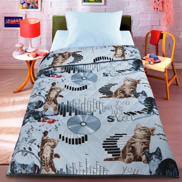 Одеяло Letto Покрывало Кот диджей облегченное 140x200 см