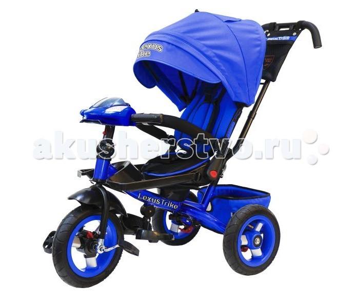 Велосипед трехколесный Lexus Trike T400M2Trike T400M2Велосипед трехколесный Lexus Trike T400M2 с функцией смотрю на маму/смотрю на дорогу, с ручкой управления.   Особенности:  Светомузыкальная панель: 3 детские  песенки из мультфильмов, 1 мелодия автомобиля, световые и звуковые эффекты;  Металлическая рама;  Складная рулевая стойка, позволяющая максимально отклонить спинку сиденья в положении смотрю на маму;  Диск колеса из алюминия, надувные шины из резины;  Функция «свободное колесо»;  Двойная ручка - толкатель с сумочкой для мелочей;  Складные подставки для ног;  Дополнительные съемные подставки для ног;  Складной тент колясочного типа с фиксаторами положения;  Эргономичное сиденье с высокой спинкой комфорт с мягкими бортами;  Несколько положений спинки;  Сиденье регулируется горизонтально по раме;  Поворот сиденья 360 градусов;  Мягкий вкладыш - кенгуру на сидении;   Раздвижная дуга безопасности с мягкими подлокотниками;  Ремни безопасности;  Большая багажная корзина  Ножной тормоз Диаметр переднего колеса – 30 см Диаметр задних колес - 25 см<br>