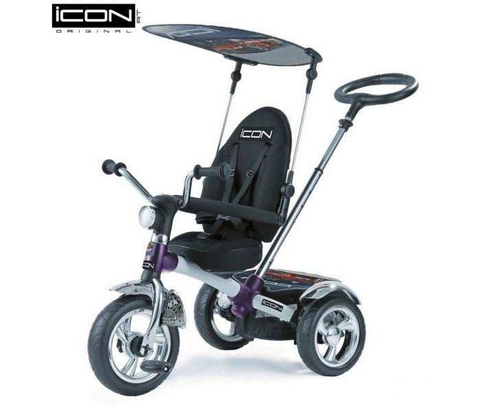 """Велосипед трехколесный Lexus Icon 3 RT originalIcon 3 RT originalLexus trike original RT- ICON 3 RT original это первый 3-х колесный велосипед -велосипед-коляска, потому что его можно использовать для детей от 6 месяцев до 5 лет.  У модели ICON 3 RT original- непрокалываемые колеса EVA+маленькое сиденье.  Особенности:  ПВХ колеса диаметром 11 см и 9 см  большое сидение  сиденье можно наклонить до положения не только полулежа, но и совсем лежа  повернуть лицом к маме или лицом к дороге рама легкий карбон и прочный материал. По своей прочности карбон не уступает даже многим металлам. А по весу он на 40% легче стали и на 20% легче алюминия.  имеет управляемую ручку """"Телескопик"""", установлена под идеальным углом и подходит под любой рост взрослого Теперь Вы можете преодолевать бордюры и одновременно поворачивать велосипед направо и налево. Мощный технически продуманный узел на раме теперь позволяет это делать. Регулируемая высота ручки  Сиденье и имеет 8 положений ближе или дальше от руля. Прост в сборке  на задние колеса установлены амортизаторы, которые дают плавность хода.    Функция- «свободное колесо». Пластиковый диск расположен на переднем колесе.Небольшим усилием Вы можете вытаскивать диск наружу или ставить на место. Таким образом, Вы фиксируете педали и малыш может кататься на велосипеде, а можно дать им свободный ход и крутить педали взад-вперед, когда велосипедом управляет взрослый.  Мы впервые создали уникальные подножки-крылья, которые может закрывать и открывать малыш самостоятельно,без помощи мамы:закрывать,когда они не нужны и раскрывать, когда ножки малыша устали. Они установлены на вилке переднего колеса-как утверждают все детские специалисты- это намного удобнее и полезно для роста и развития ног малышей.<br>"""