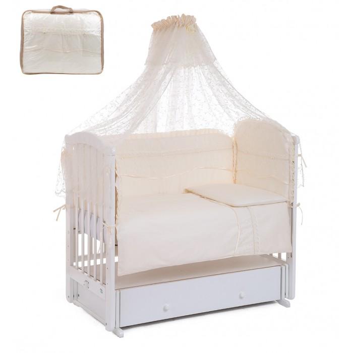 Комплект в кроватку Leader Kids Королевское высочество (7 предметов)Королевское высочество (7 предметов)Комплект для кроватки Lider Kids Королевское высочество - это симпатичный приятный на ощупь комплект Lider Kids для детской кроватки составлен из семи предметов. Это кружевной балдахин, мягкий бортик со съемным чехлом, одеяло, пододеяльник, подушка, наволочка, простынка на резинке. Комплект украсит детскую комнату и обеспечит комфортный сон вашего малыша.  Пододеяльник и бортики декорированы двумя рядами кружева. Для удобства эксплуатации (в том числе и стирки) внизу бортика расположена застежка-молния с помощью которой можно достать наполнитель. Боковые срезы обработаны косой бейкой.  В состав комплекта входит: Одеяло 134 х 106 см Подушка 40 х 60 см 4 бортика 360 х 40 см Пододеяльник 134 х 106 см Наволочка 40 х 60 см Простынка 120 х 60 см Балдахин 320 х 180 см Материал-сатин Состав-100% хлопок<br>