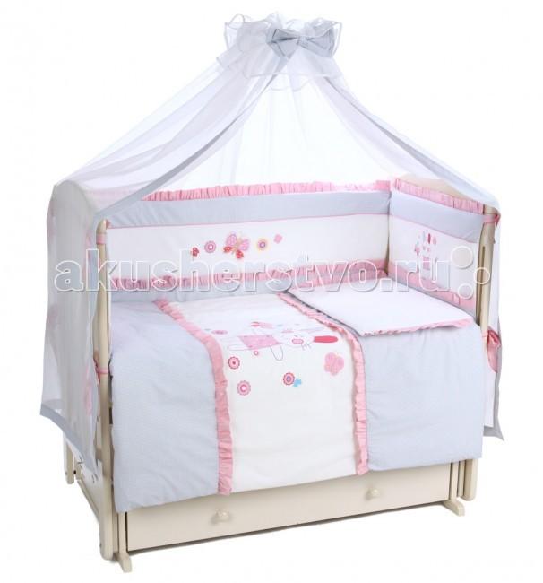 Комплект в кроватку Leader Kids Пушок (7 предметов)Пушок (7 предметов)Комплект для кроватки Lider Kids Пушок - это симпатичный приятный на ощупь комплект Lider Kids для детской кроватки составлен из семи предметов. Это кружевной балдахин, мягкий бортик со съемным чехлом, одеяло, пододеяльник, подушка, наволочка, простынка на резинке. Комплект украсит детскую комнату и обеспечит комфортный сон вашего малыша.  В состав комплекта входит: бампер 360x40 см одеяло 115х85 см подушка 40х60 см балдахин 280х150 см  наволочка 40x60 см пододеяльник 110x140 см простыня на резинке 160х100 см  Материал - сатин Наполнитель - холлофайбер<br>