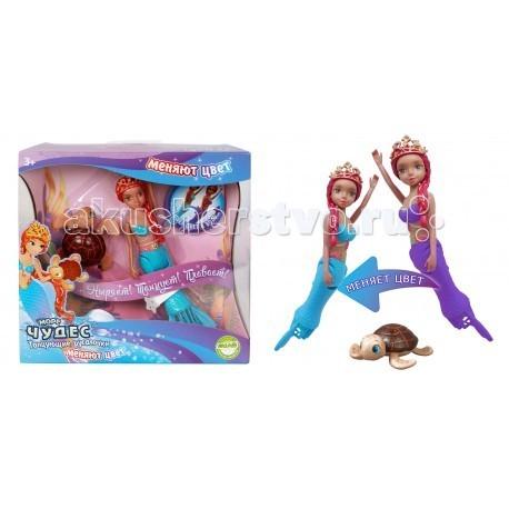 Интерактивная игрушка Море чудес Танцующая русалочка меняющая цветТанцующая русалочка меняющая цветИнтерактивная игрушка Lil Fishys Танцующая русалочка меняющая цвет. Русалочка плавает и ныряет. Меняет цвет хвоста и купальника в холодной воде.   Траектория движения игрушки зависит от наклона хвоста.   Работает от батарейки типа ААА (LR6) (в комплект не входит).<br>