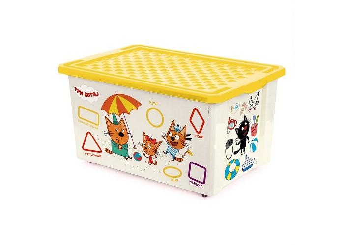 Ящики для игрушек Little Angel Ящик для хранения Три кота Обучайка читай колеса 57 л 1227LA ящики для игрушек little angel ящик для хранения три кота обучайка читай 30 л 1226