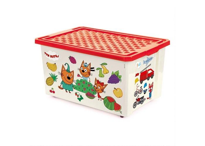 Купить Ящики для игрушек, Little Angel Ящик для хранения Три кота Обучайка считай колеса 57 л 1427LA