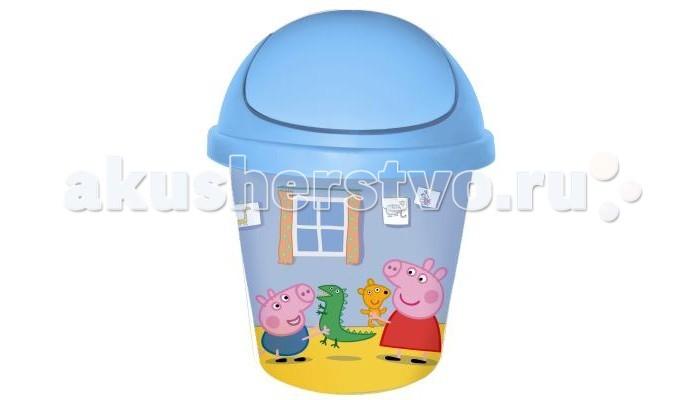 Ящики для игрушек Little Angel Детская корзина круглая 7 л Свинка Пеппа little angel мусорная корзина круглая 7 л city cars little angel голубой