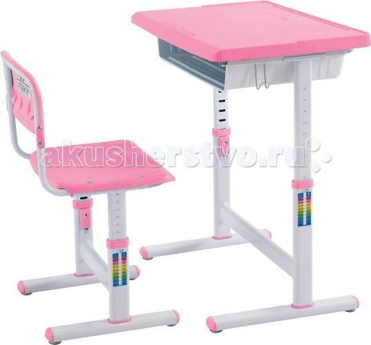 Little King Комплект парта+стул FT905Комплект парта+стул FT905Многофункциональный комплект Парта-трансформер со стулом Little King FT905 для детей из экологически чистых материалов. По мере роста ребёнка, парта и стульчик регулируются по высоте.  Характеристики стола: Ширина: 65.5 см. Глубина: 45.5 см. Стол регулируется по высоте: 52 см. - 76 см. Столешница может подниматься: 0° - 45°  Характеристики стула: Ширина: 38.5 см. Глубина: 34.5 см. Сидение стула регулируется по высоте: 30 - 42 см.<br>