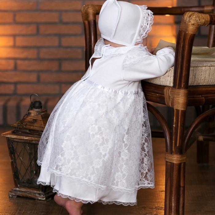 где купить Крестильная одежда Little People Крестильное платье и чепчик 11241 дешево