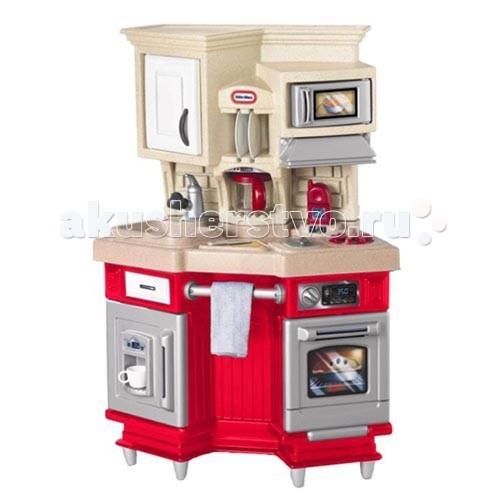 Little Tikes Кухня 484377/614873Кухня 484377/614873Игрушечная кухня от Little Tikes 484377 - компактная, стильная и современная! Оснащена плитой с духовкой, раковиной, микроволновкой, кофейником, холодильником и многим другим. Духовка и варочная панель издают звуки при включении. Микроволновка, также, снабжена звуковыми и световыми эффектами. Вверху расположены объемные шкафчики для хранения посуды. Высоту кухни можно регулировать с помощью ножек из комплекта.  Работающая микроволновка, духовка и дверцы холодильника Звуки для реалистичной игры и у плиты, и у духовки В двери холодильника есть устройство для колки льда и дополнительный отсек для хранения игрушечной еды.  В комплекте: чайник, сковородка, две тарелки, две вилки, две ложки, два ножа, две чашки (всего 14 предметов посуды) Вешалка для полотенца Когда ребёнок подрастёт, высоту кухни можно будет увеличить с помощью ножек (входят в комплект).  Для полноценной работы требуются 2 батарейки AAA (не входят в комплект).  Размер игрушки: 96.5 x 44,4 x 105 см<br>