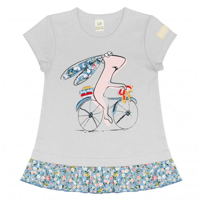 Футболки и топы Lucky Child Футболка для девочки Кролик на велосипеде
