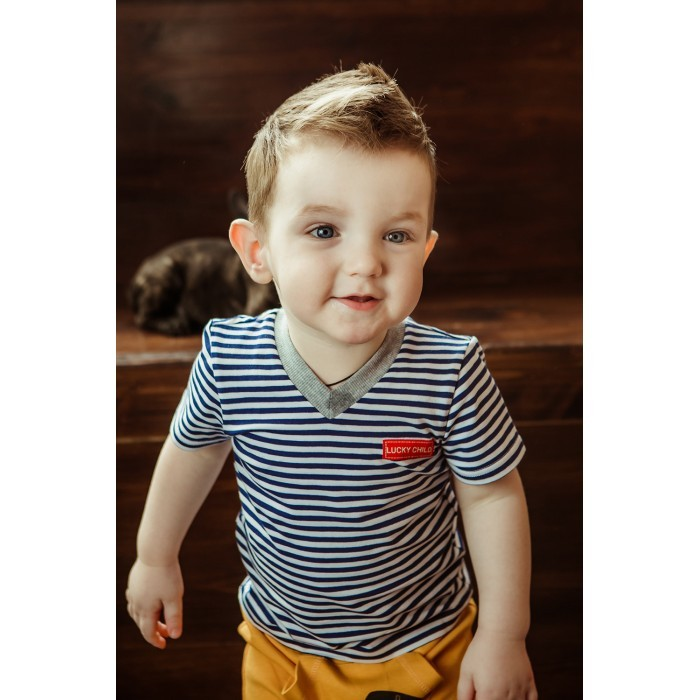 Футболки и топы Lucky Child Футболка для мальчика полоска Крутой парень футболки и топы lucky child футболка для мальчика no risk no fun