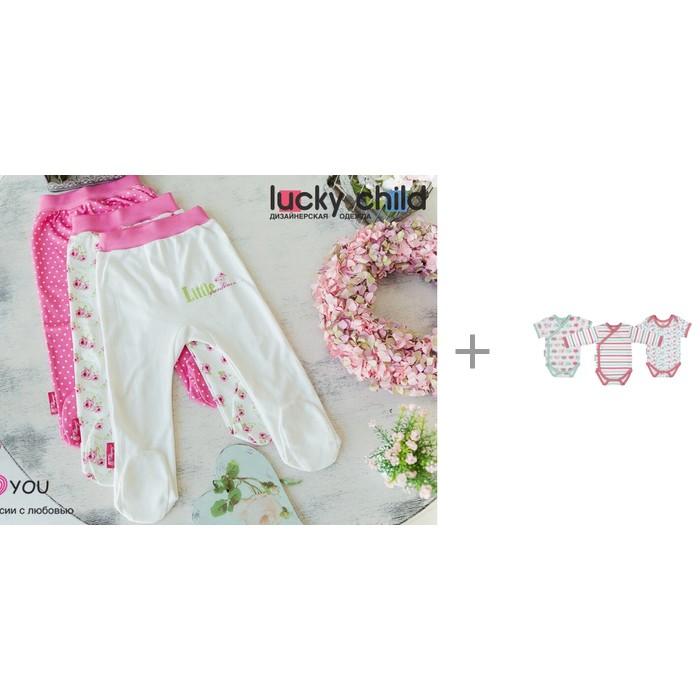 Lucky Child Ползунки для девочки Маленькая садовница 3 шт. с боди Овечки 30-143/3шт фото