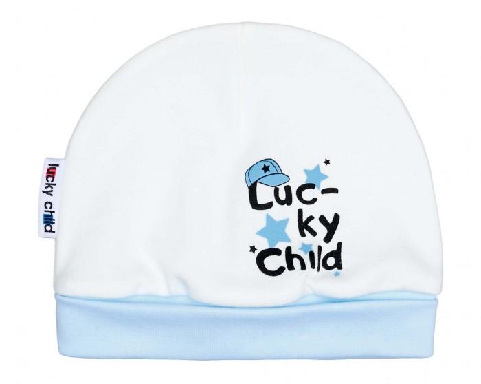 lucky child шапочка ангелочки белая на завязках Шапки, варежки и шарфы Lucky Child Шапочка для мальчика 34-9