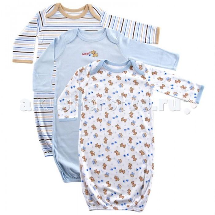 Пижамы и ночные сорочки Luvable Friends Ночные сорочки длинный рукав 3 шт. ночные сорочки и рубашки