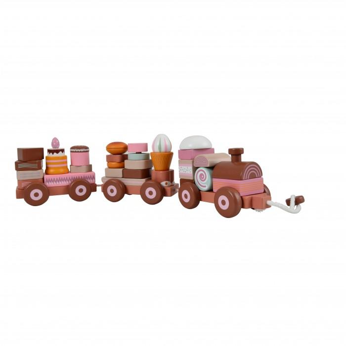 Деревянная игрушка Magni Паровозик-пирамидка с пирожными