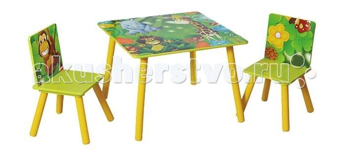 Makaby Стол со стульямиСтол со стульямиСтол с 2-мя стульчиками Makaby – это отличная игровая и развивающая зона для вашего малыша или крошки.  Качественная мебель выполнена из экологичных и безопасных материалов высокого качества, а потому за столиком Makaby можно не только рисовать или учиться, но и кушать. Отсутствие острых углов и устойчивые конструкции – важные составляющие комфорта ребенка. Мебель легко моется и долгое время сохраняет опрятный вид. Makaby имеет оптимальные размеры для деток 3-5 лет. Яркие расцветки неизменно нравятся деткам. Продукция сертифицирована и соответствует самым высоким стандартам качества.  Стол: 60х60х44 см Стульчик: 27х27х51 см  Габариты упаковки: 65 х 64 х 10 см, 10 кг<br>