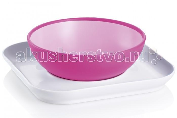 Посуда MAM Набор тарелок Babys bowl& plate 6+ mam пустышка mam perfect силиконовая 0 6 мес синяя мишка