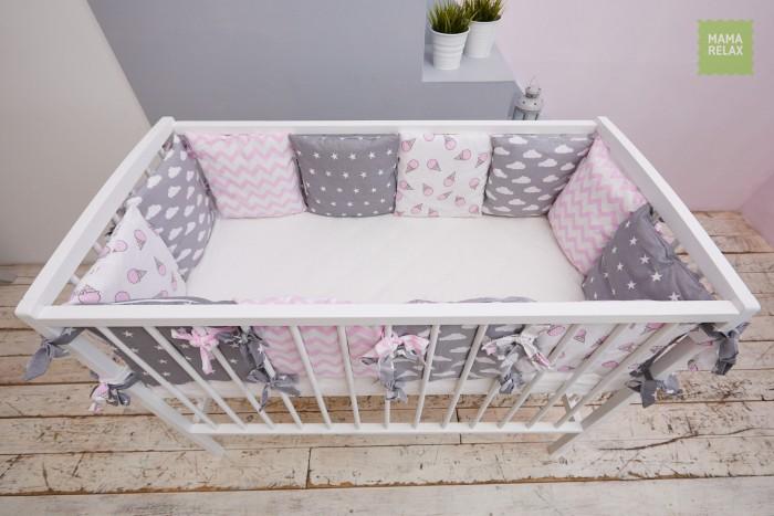 Бортик в кроватку Mama Relax Клубника со сливками (12 подушек)