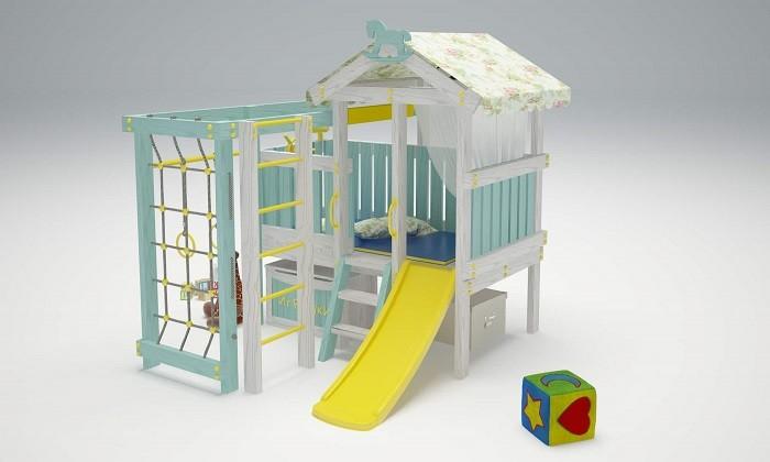 Савушка Baby 1 Детский игровой комплекс-кроватьBaby 1 Детский игровой комплекс-кроватьСавушка Baby 1 Детский игровой комплекс-кровать для дома и дачи. Основным преимуществом этого комплекса, кроме безопасности, долговечности и красоты, является его функциональность. Он способен обеспечивающие физическое развитие ребенка, ловкость, смелость, развитие координации движений, преодоление страха высоты и умение дружить в коллективных играх.  Трансформация комплекса безгранична. В один момент комплекс может превратится из зоны активных игр в уютный домик, из уютного домика в пиратский корабль и из корабля в уютное спальное месте для отдыха от активных игр. Благодаря высокой платформе под комплексом-кроватью спокойно размещаются ящики с любимыми игрушками.  Материал: Каркас изделия, ограждение и иные элементы изготовлены из массива  сосны. Все детали качественно шлифованы. В базовой комплектации детский комплекс-кровать представлен без покрытия.   Изделие может эксплуатироваться круглогодично как в помещениях, так и на улице при окружающей температуре воздуха от -30°С до + 40°С и относительной влажности воздуха не более 90%. При эксплуатации на улице, с целью обеспечения наиболее длительного срока его службы, игровой комплекс  рекомендуется обработать защитным покрытием. В качестве покрытия рекомендуется использовать защитные материалы на водной основе (масла, грунты-пропитки, лаки и т.п.)   Комплектация:  Игровой домик с крышей Горка пластиковая 1.18 м Шведская стенка Сетка-лазалка Турник металлический Кольца гимнастические Бинокль Штурвал пластиковый 1 место — 1700 х 270 х 180               2 место — 1200 х 180 х 180                                 3 место — 1100 х 135 х 90                                    4 место — 870 х 160 х 180                                    5 место — 1650 х 160 х 180<br>
