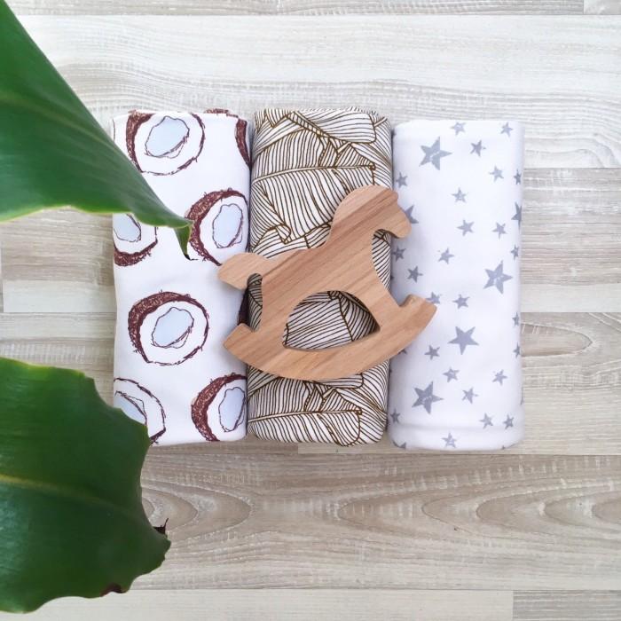Пеленки MamaPapa Palm Tree/Кокосы/Звезды 80х80 см 3 шт. palm