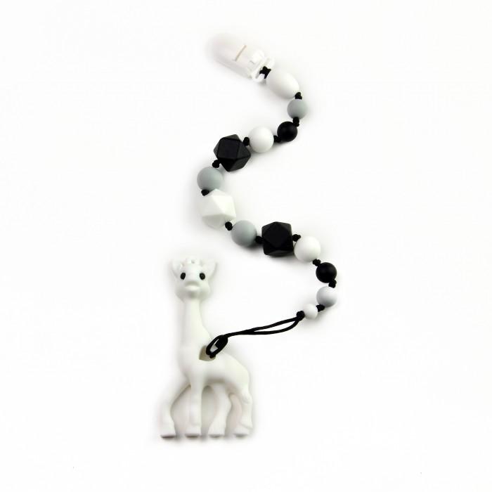 Прорезыватель MamSi Грызунок Монохром на держателе с клипсой Жираф