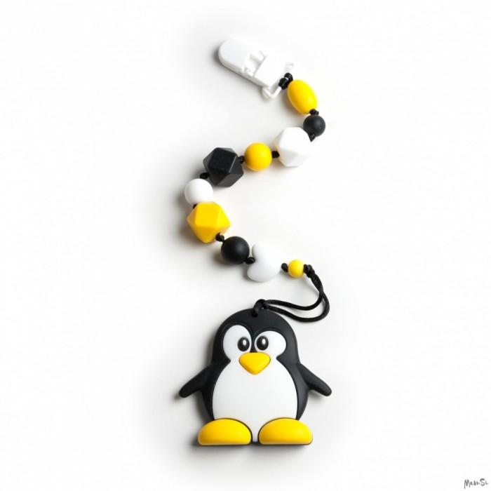 Прорезыватели MamSi Грызунок Радуга на держателе с клипсой Пингвин, Прорезыватели - артикул:518356