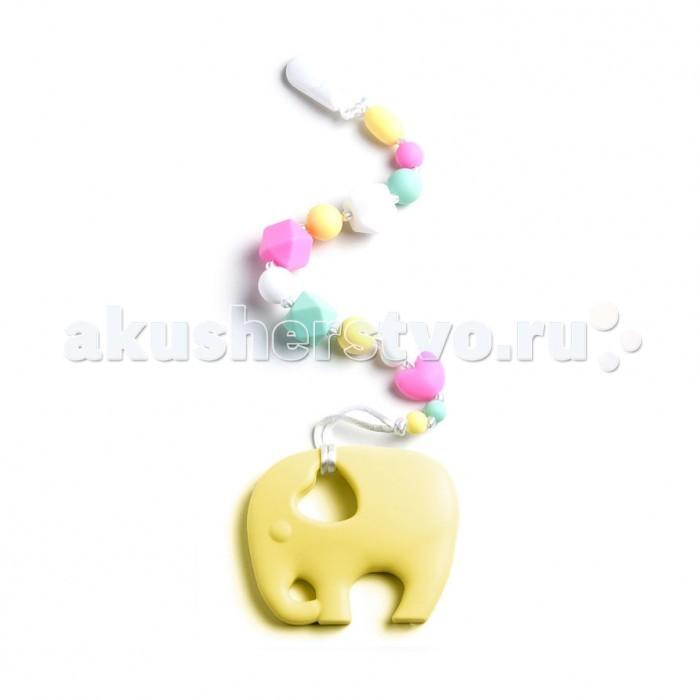 Прорезыватели MamSi Грызунок Зефирный на держателе с клипсой Слон, Прорезыватели - артикул:517821