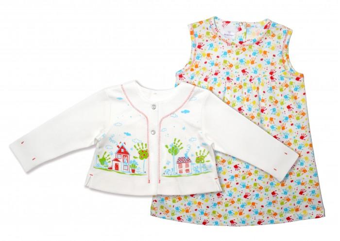 Комплекты детской одежды Мамуляндия Комплект для девочки (платье и жакет) Клякса комплекты детской одежды мамуляндия комплект для мальчика полукомбинезон и футболка клякса
