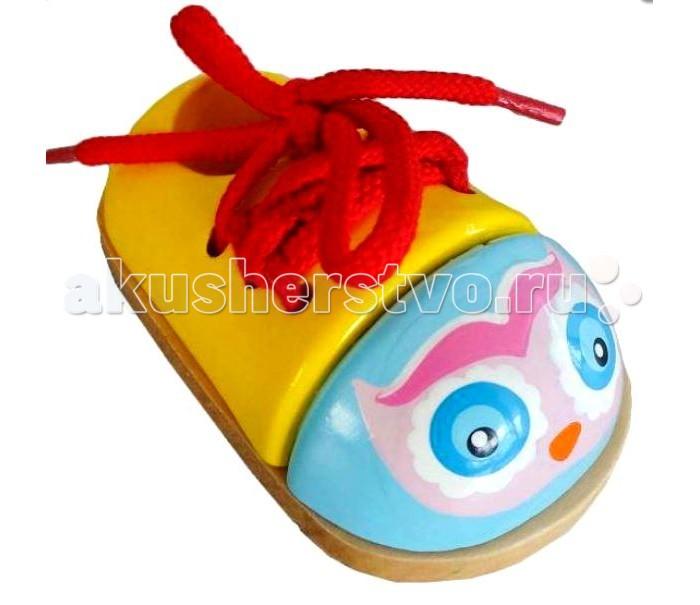 Деревянные игрушки Mapacha Шнуровка ботиночек Совенок/Совушка